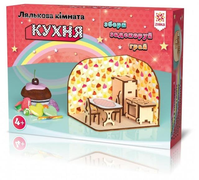 Лялькова кімната Кухня. Дерев'яний 3Д конструктор