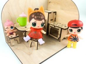 Лялькова кімната Кухня. Дерев'яний 3Д конструктор. Фото 2