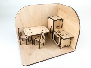 Лялькова кімната Кухня. Дерев'яний 3Д конструктор. Фото 5