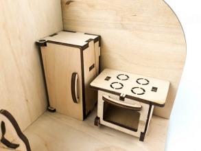 Лялькова кімната Кухня. Дерев'яний 3Д конструктор. Фото 6